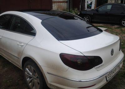 Оклейка крыши в черный глянец и бронирование передней части авто VW Passat cc