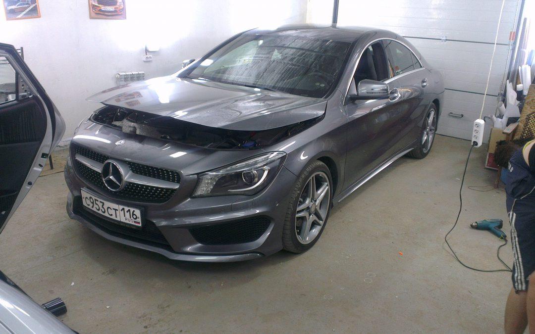 Бронирование пленкой автомобиля Mercedes-Benz CLA в Казани, июнь 2013