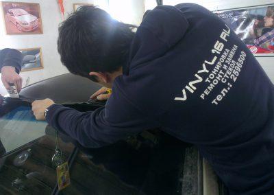 Оклейка крыши автомобиля пленкой карбон 3D — март 2014