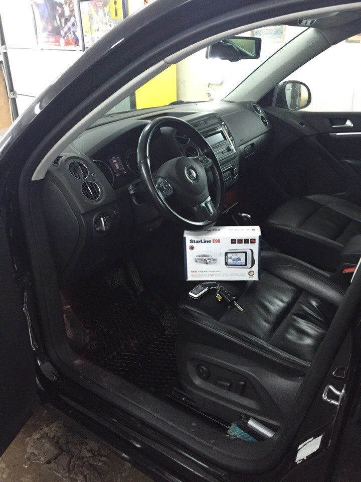 Установка сигнализации с автозапуском Starline E 90 на Volkswagen Tiguan