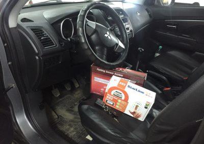 Установка сигнализации с автозапуском Starine A93 , и установка парктроников на Mitsubishi ASX