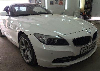 Полная перетяжка кузова в белый металлик пленкой премиум класса — BMW Z4