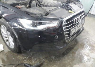 Бронирование бампера и передней части полиуретановой пленкой на автомобиле — Audi A6