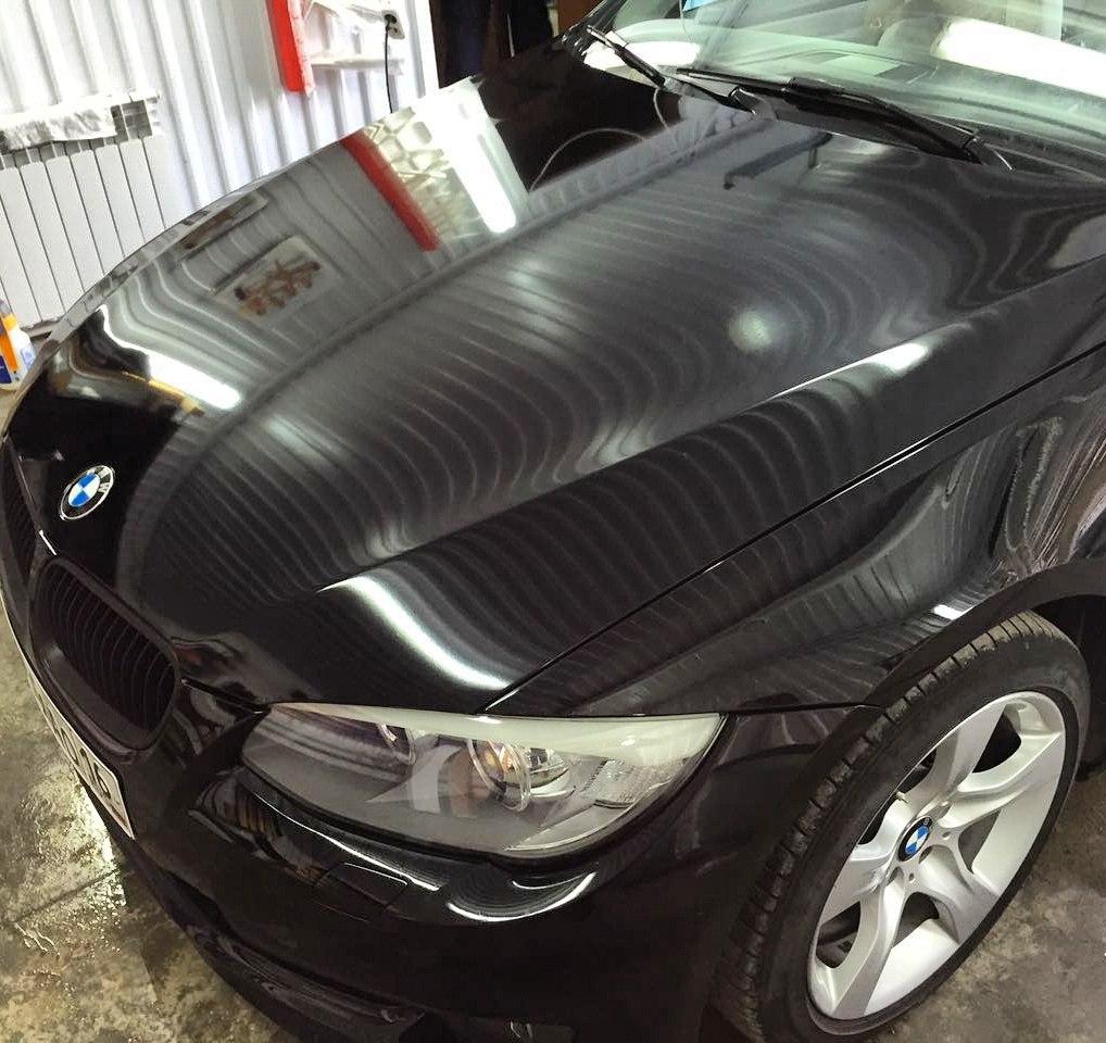 Бронирование передней части антигравийной пленкой на автомобиле BMW 3 купе