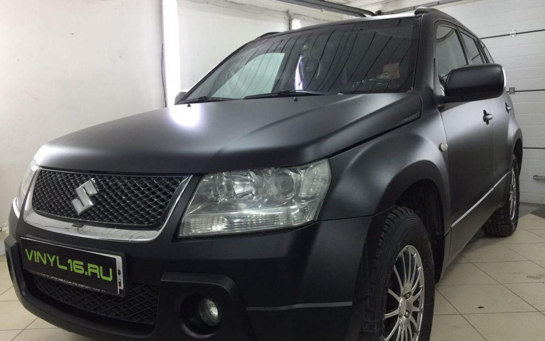 Перетяжка кузова чёрной матовой пленкой премиум класса — Suzuki Grand Vitara