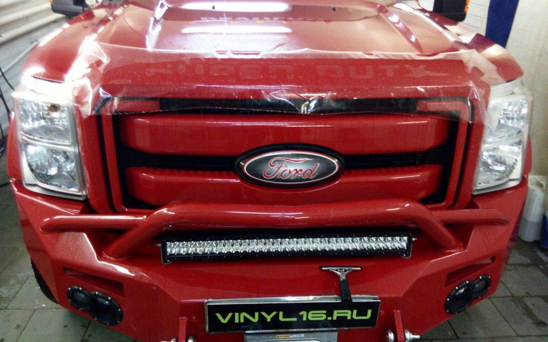 Частичное бронирование полиуретановой пленкой Hexis Bodyfence автомобиля Ford Super Duty