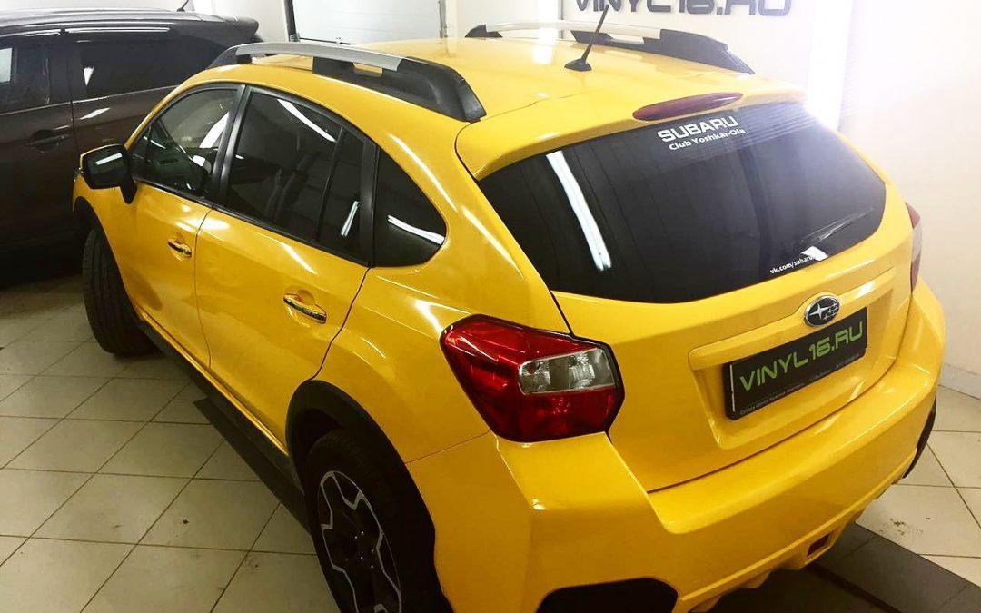 Оклейка автомобиля Subaru XV пленкой KPMF желтого цвета