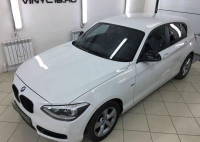 Тонировка задних стёкол плёнкой Johnson 95%, тонировка передних стёкол плёнкой Armolan 20% — BMW 1 Series