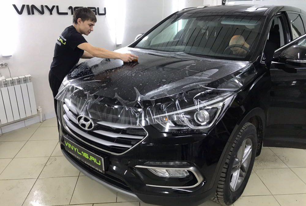 Комплексное бронирование полиуретановой пленкой Hexis Bodyfence & Установка сигнализации StarLine A93 на автомобиль Hyundai Santafe