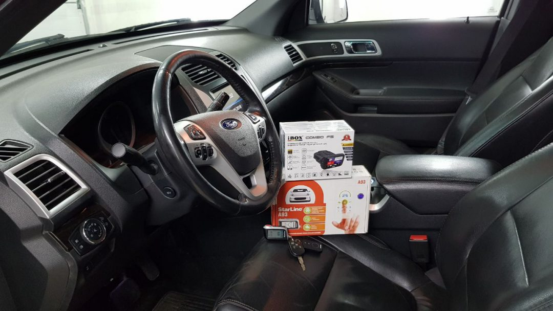 Установка сигнализации Starline A93 GSM и тонировка стёкол плёнкой Johnson 95% — Ford Explorer