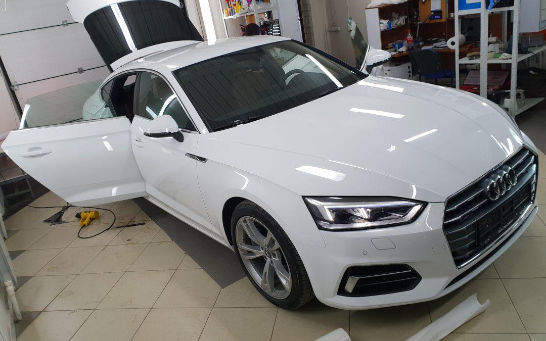 Тонировка задней части авто Audi A5 пленкой NDFOS и бронирование зон риска пленкой Hexis Bodyfence