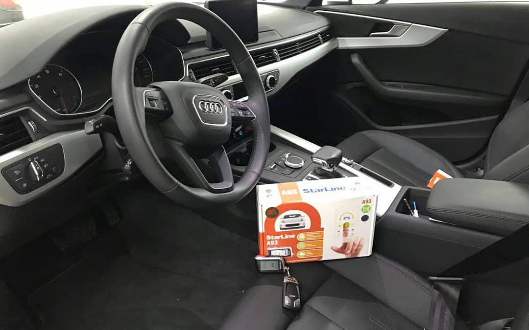 Установка сигнализации Starline A93 2Can2Lin GSM и тонировка задней полусферы плёнкой премиум класса Johnson 95% — Audi A4