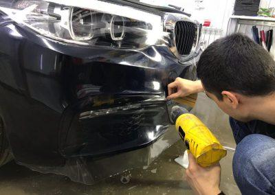 Бронирование бампера и оптики плёнкой полиуретан Hexis Bodyfence, автомобиль BMW 5