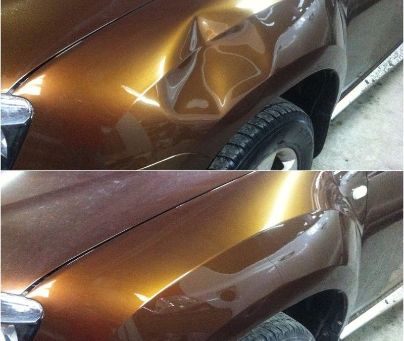 Выполнили ремонт вмятины без покраски автомобиля — Renault Duster