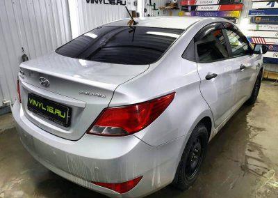 Затонировали заднюю часть плёнкой ShadowGuard 95% — автомобиль Hyundai Solaris
