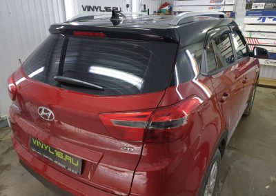 Hyundai Creta — бронирование полиуретановой плёнкой HexisBodyfence, оклейка черной глянцевой пленкой Oracal 970, атермальная тонировка