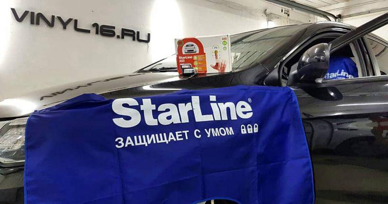становка охранного комплекса Starline A93 2can2lin с модулями GSM/GPS — автомобиль Kia Rio