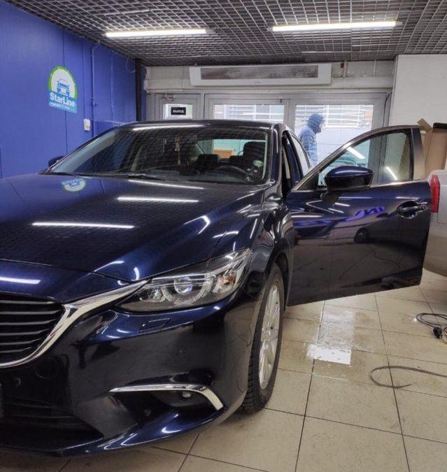 Тонировка передних боковых стёкол автомобиля Mazda 6 пленкой Shadow Guard 65% затемнения