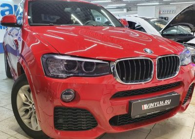 BMW X4 — забронировали капот полиуретановой пленкой, бронирование передних фар пленкой Stek