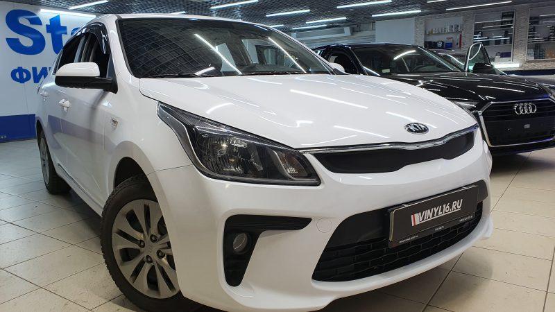 KIA Rio — оклейка автомобиля пленкой белый глянец