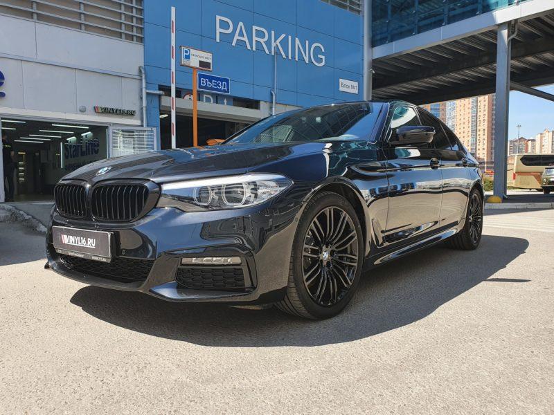 BMW 520 — комплексное бронирование полиуретановой пленкой, антихром ноздрей, тонировка задняя часть LLumar 95, боковые стекла атермальной пленкой, установка автосигнализации StarLine S96