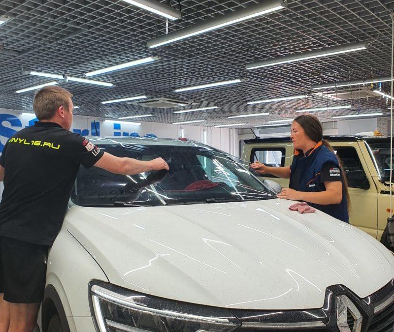 Renault Arkana — тонировка лобового и боковых стекол атермальной пленкой UltraVision XAIR Blue, бронирование передних фар полиуретановой пленкой
