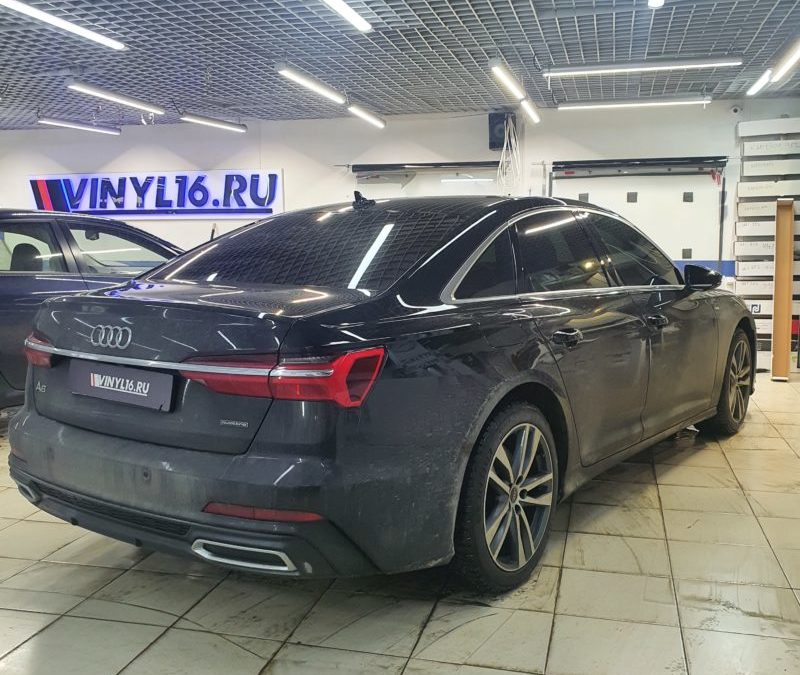 Audi A6 — бронирование фар пленкой Stek с затемнением, легкая тонировка лобового стекла пленкой Ultra Vision
