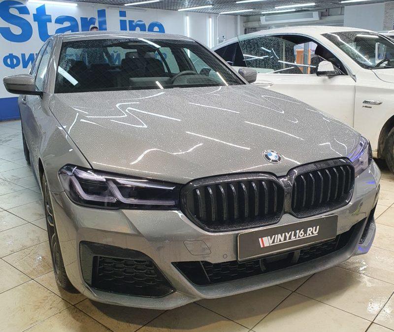 BMW 530 — бронирование фар автомобиля с затемнением