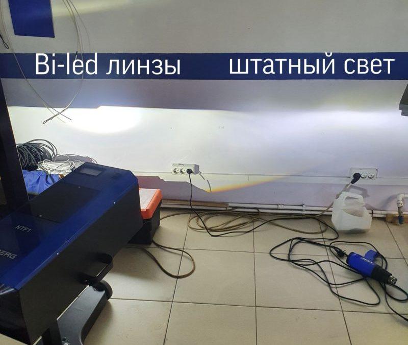 Установили на фары автомобиля Hyundai Solaris Bi Led модули