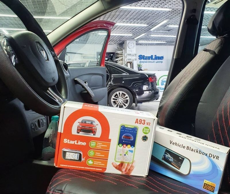 Зеркало со встроенным видеорегистратором и камерой заднего вида и охранный комплекса StarLine A93 был установлен на Renault Logan